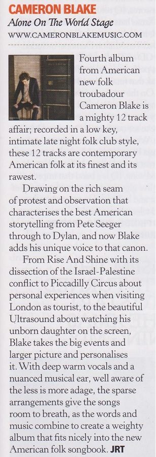 Cameron Blake - Classic Rock Society clipping